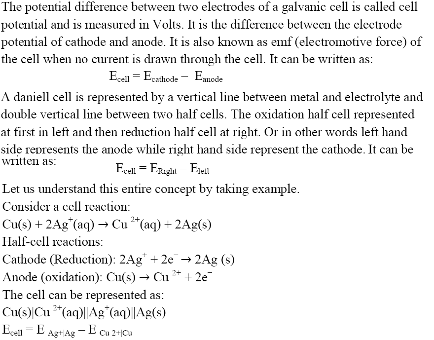 CBSE Class 12th Chemistry Notes: Electrochemistry (Part ...