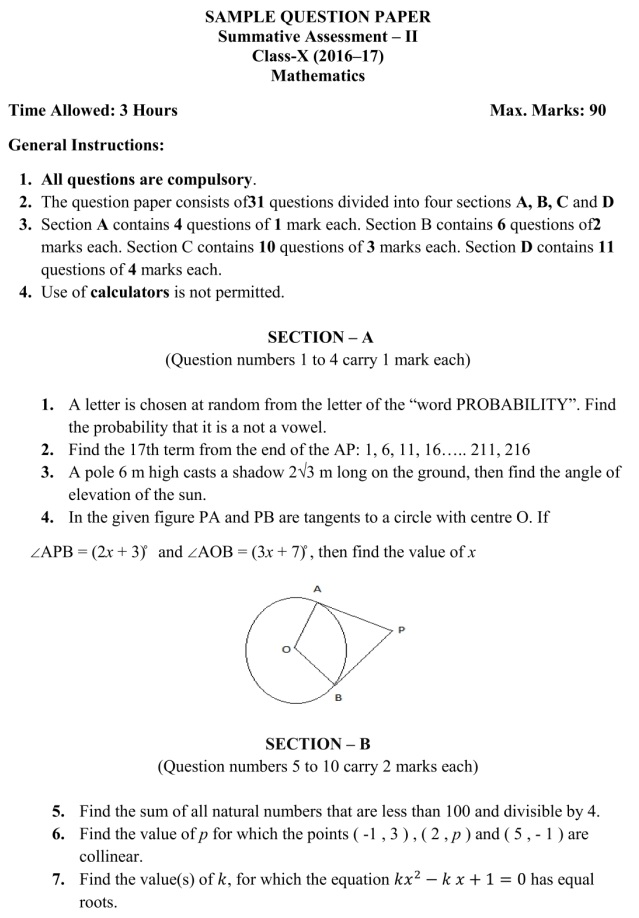 Cbse Sample Paper For Class 10 Maths Sa 2 Exam 2017