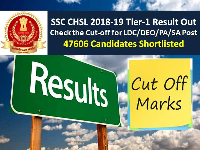 SSC CHSL 2018-19 Tier-1 Result Out: Check the Cut Off for LDC/DEO/PA/SA Posts