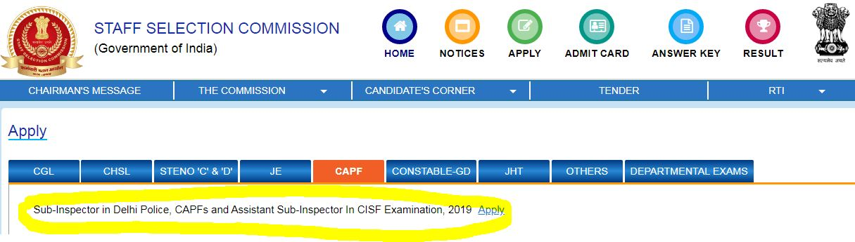 SSC CPO 2019-20 Application