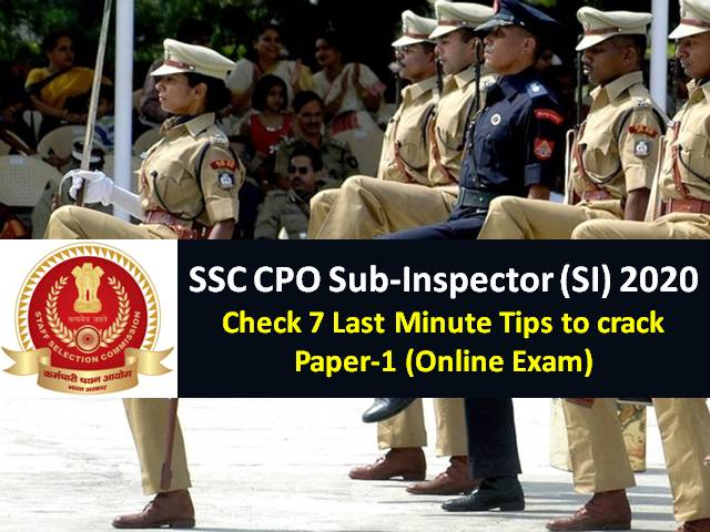 SSC CPO Sub-Inspector (SI) 2020 Exam begins from 23rd ...