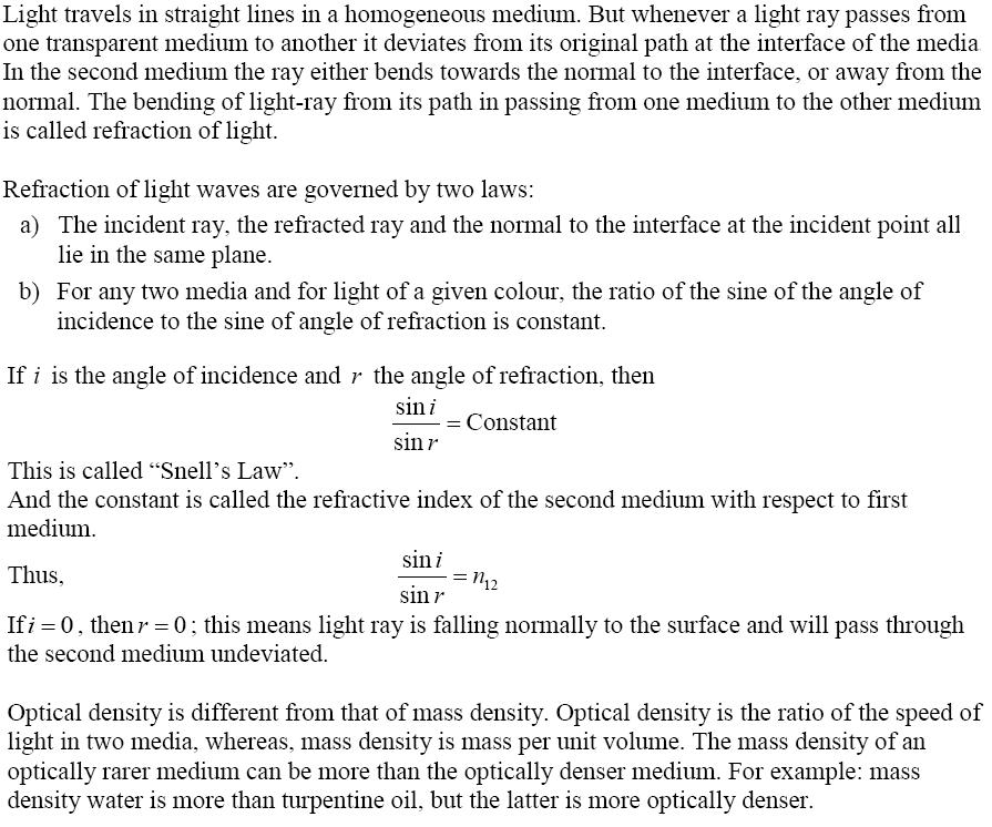 CBSE Class 12th Physics Notes: Ray Optics & Optical
