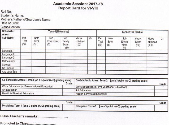 class 6-8 exam pattern, cbse report card