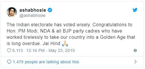 Asha Bhonsle Tweet