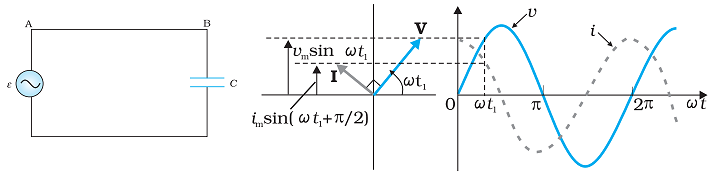 AC Circuit containing Capacitor only: Phasor Diagram