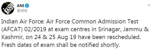 AFCAT 2019 Exam Postponed