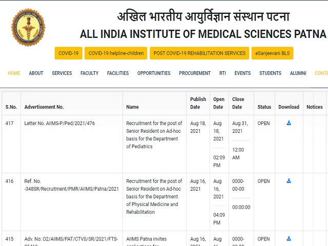 AIIMS Patna Registrar, Deputy Medical Superintendent and Other Posts 2020