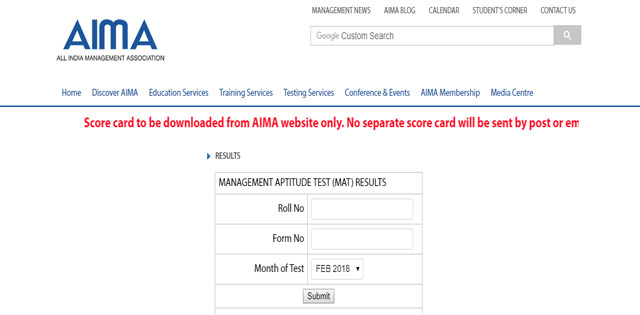 AIMA MAT 2018: Result Declared For Exam Held on February 17