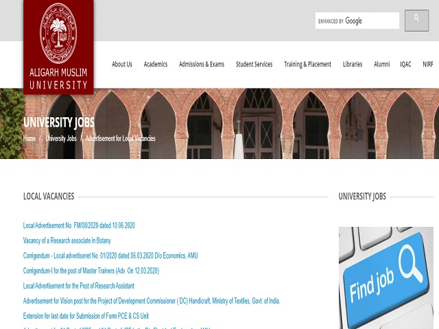 Aligarh Muslim University (AMU) Recruitment 2020: Apply for Assistant Professor and Senior Resident Posts