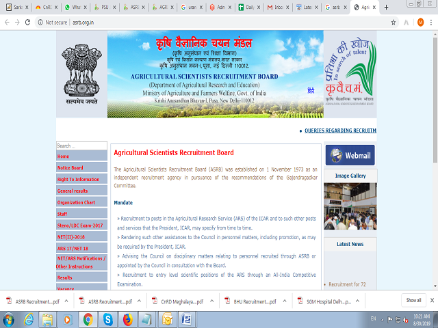 Agricultural Scientists Recruitment Board (ASRB) Research Management Posts 2019