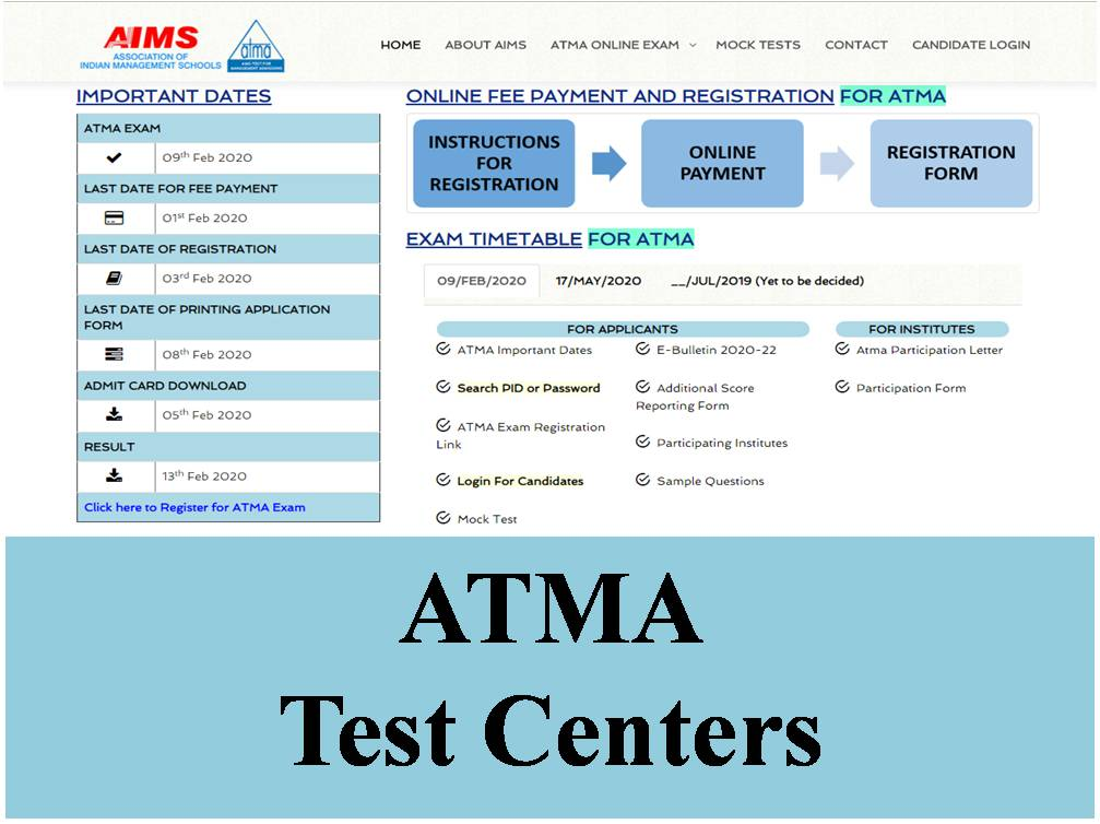 ATMA Exam Test Centers
