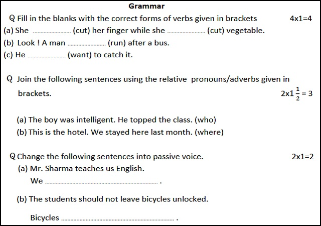 BSER class 10 English Model Paper