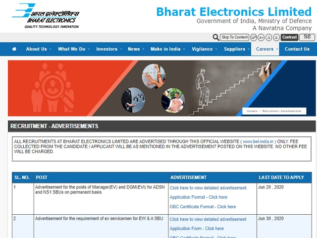 BEL Recruitment 2020: Apply for Manager and Senior Assistant Engineer Posts