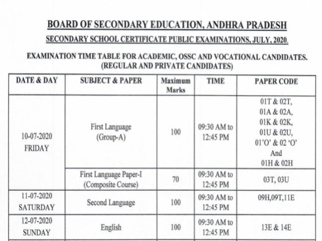 BSEAP class 10 rvised schedule