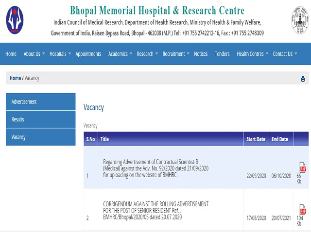 Bhopal Memorial Hospital and Research Centre Recruitment 2020