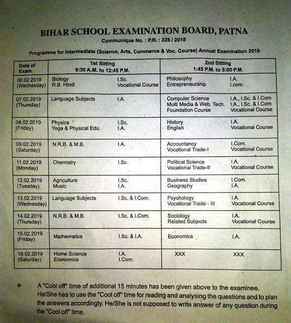 Bihar Board 12th Exam Time Table 2019