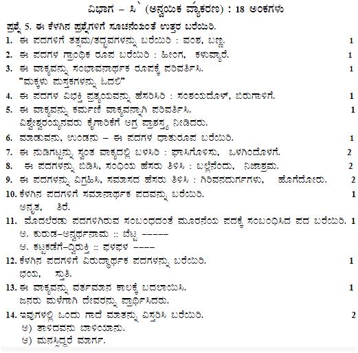 CBSE Sample Paper & Marking Scheme for Class 10 Kannada Board Exam 2019