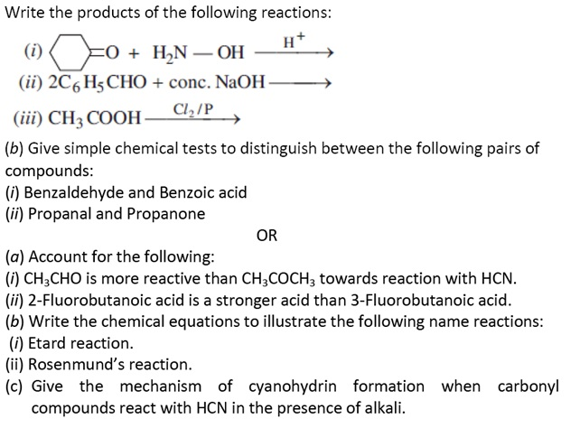 CBSE Class 12 Chemistry Sample Paper 2018: Question number 25