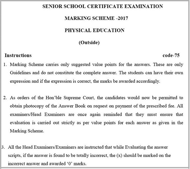 Cbse marking scheme 2017 for class 12 physical education cbse class 12 question papers 2017 a snapshot from the pdf of the marking scheme malvernweather Gallery