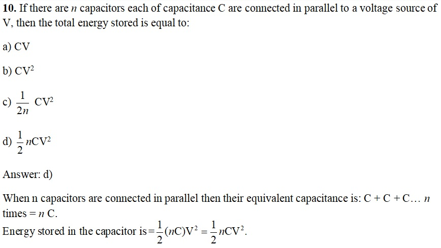 CBSE Board Exam & JEE Main 2020: Class 12 Physics - Important MCQs (Chapter 2 Electrostatic Potential and Capacitance) Q10