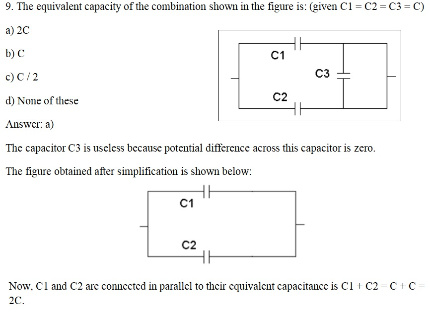 CBSE Board Exam 2020: Class 12 Physics - Important MCQs (Chapter 2 Electrostatic Potential and Capacitance) Q9
