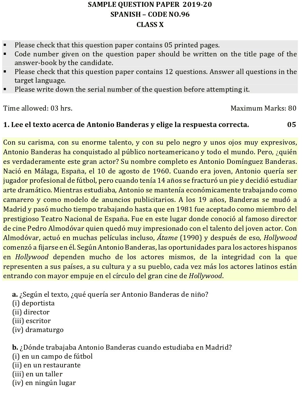 cbse spanish sample paper 2020