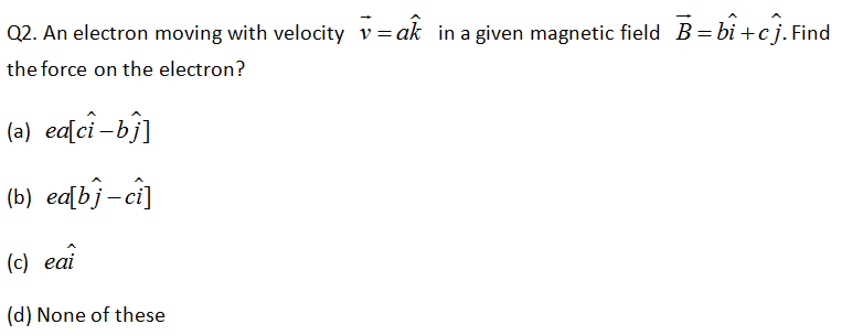 CBSE Class 12 Physic Board Exam Important MCQ Chapter 4 Moving Charges and Magnetism