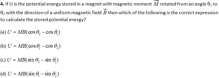 CBSE Class 12 Physics Board Exam Important MCQ Chapter 5 Magnetism and Matter