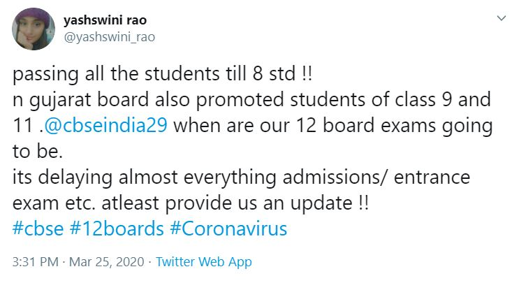 CBSE Result 2020: Tweet 1