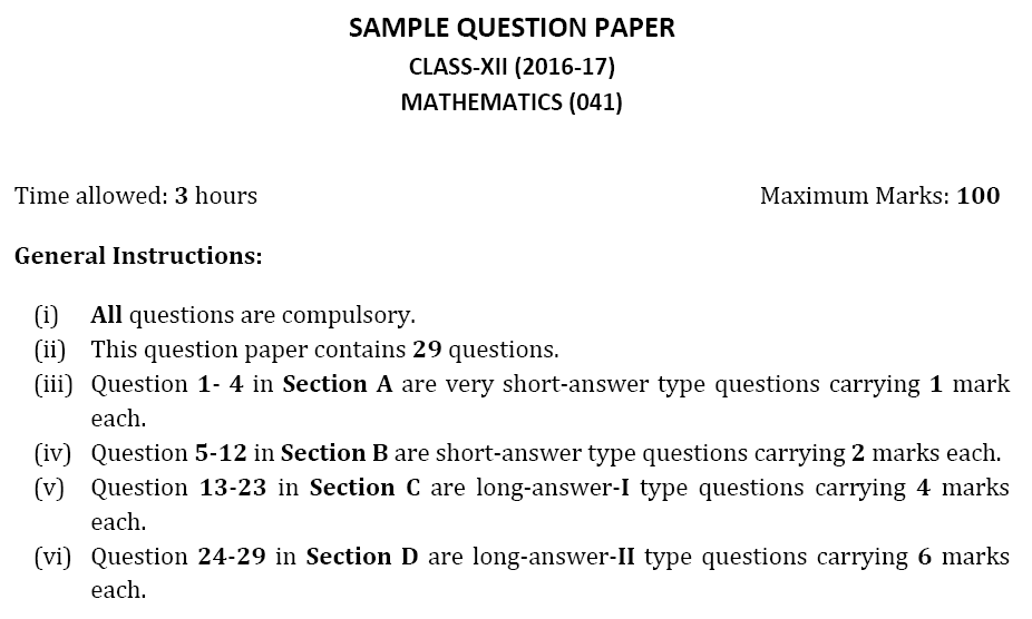 download cbse sample paper for class 12 mathematics 2017