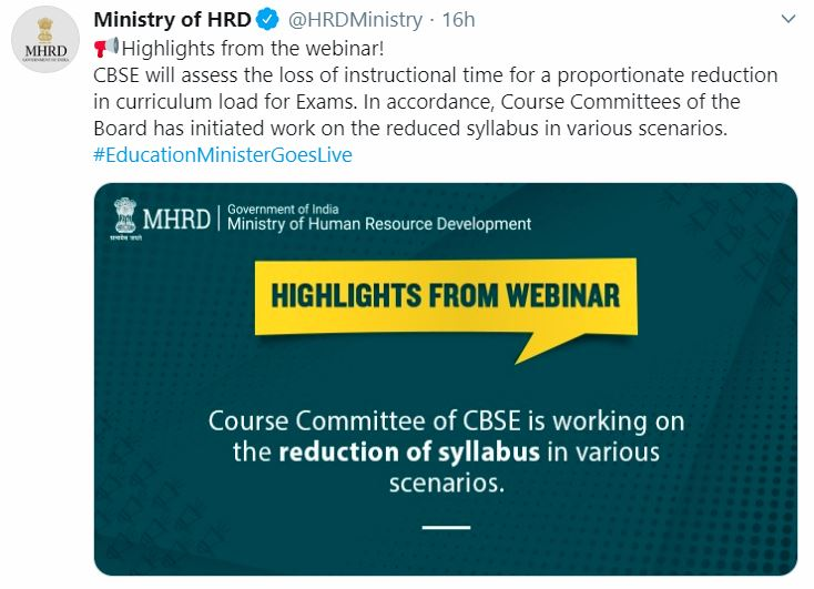 CBSE Syllabus 2020 To Be Reduced