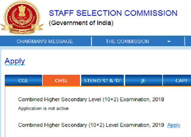 SSC CHSL 2019 Registration