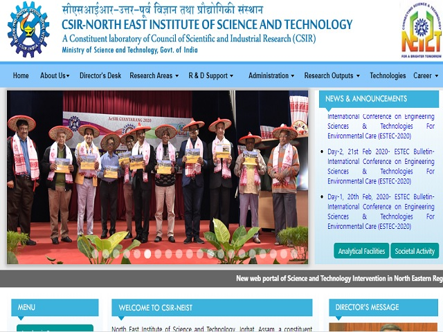CSIR –NEIST, Jorhat Project Scientist II and Project Assistant I Posts 2020