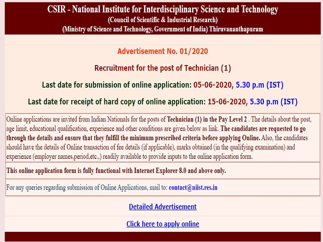 CSIR -NIIST Technician Posts 2020