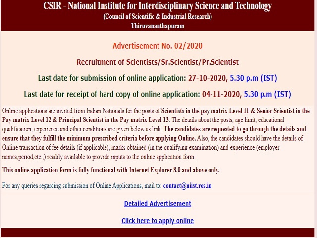 CSIR NIIST Recruitment 2020: Apply Online for Scientist, Senior Scientist and Principal Scientist Posts