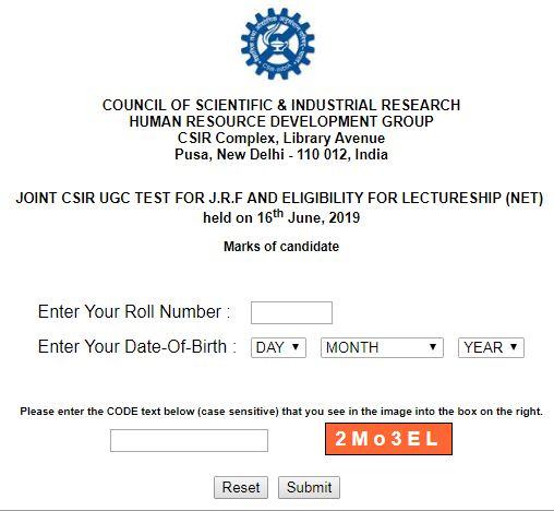 CSIR UGC NET Marksheet