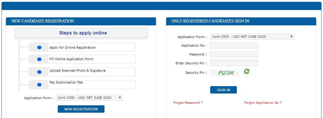 CSIR UGC NET June 2020 Application Process