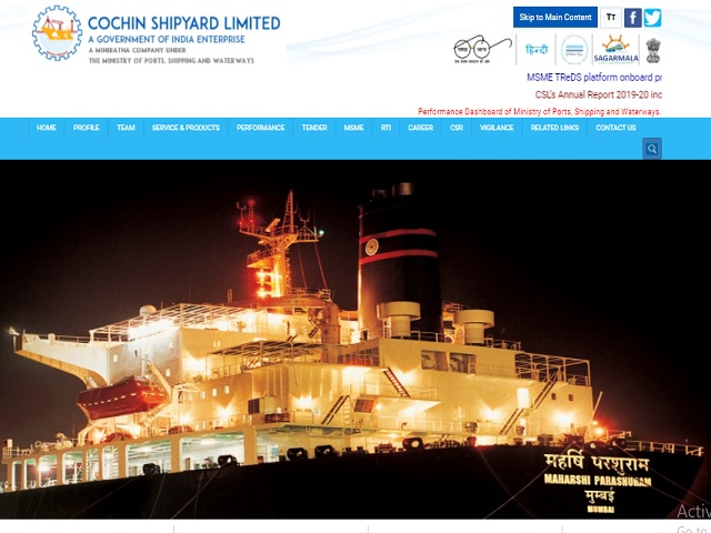 Cochin Shipyard Limited (CSL) Online for Manager and Other Posts 2020