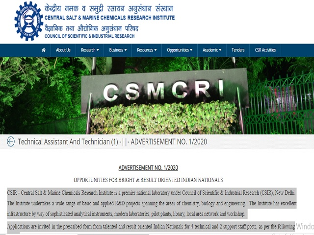 CSIR -CSMCRI Recruitment 2020: Apply for Technical Assistant and Technician Posts