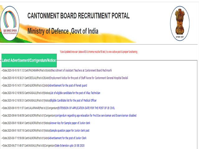 Cantonment Board Pachmarhi Recruitment 2020: Apply for Assistant Teacher Posts @canttboardrecruit.org