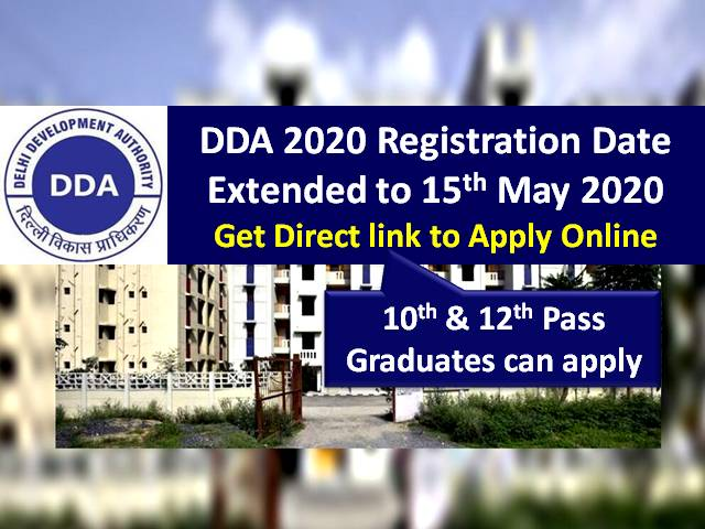 DDA 2020 Registration Extended to May 15 @dda.org.in due to COVID-19 Lockdown: Check Revised Eligibility Criteria for JSA Posts