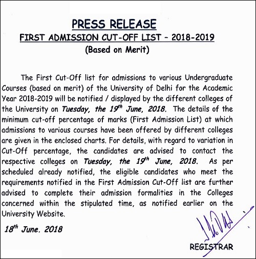 DU First Cut Off List 2018 Notification