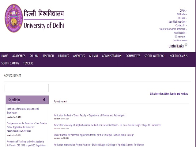 Delhi University Recruitment 2018 for 06 Junior Assistant, MTS and other Posts