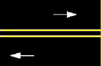 Double yellow line on the road indicates