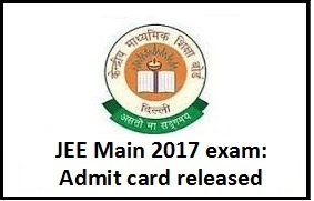 JEE Main exam admit card 2017