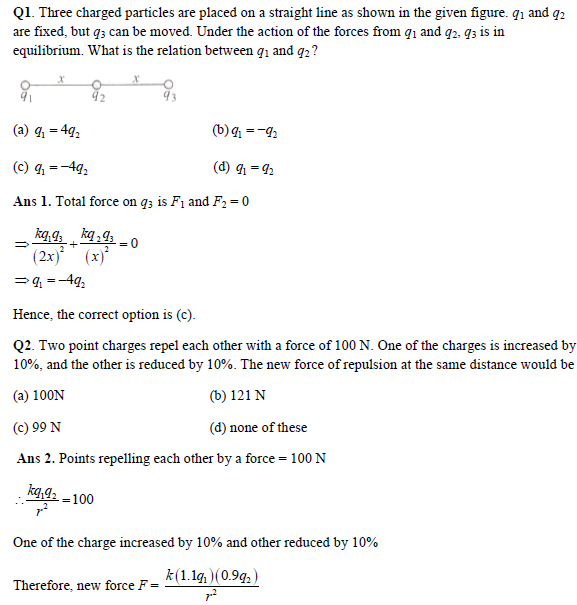 JEE Main Physics Practice Paper - Coulomb's Laws and