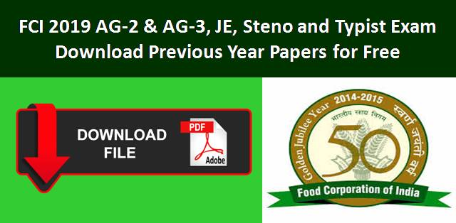 Download Previous Year Papers of FCI Exam for free
