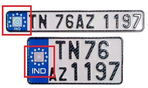 Features of IND written on vehicle number plates