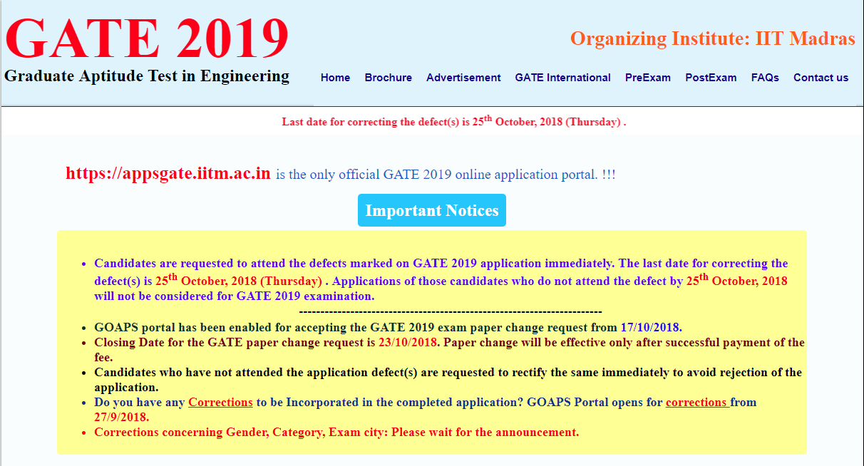 Gate 2019 Result News: GATE 2019: Correction Window For Application Form Closes
