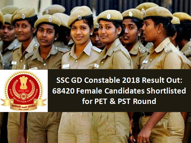 SSC GD Constable Result Out 2019: 68420 Female Candidates